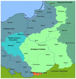 Map of Poland showing that part of the country (Congress Poland) under Russian control where the November Uprising took place