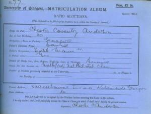 Matriculation slip 1908-09 - by courtesy University of Glasgow