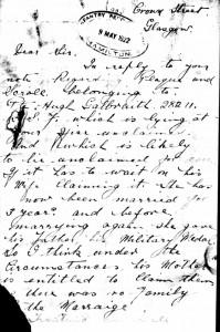 Letter from Hugh Galbraith father to Regimental Depot