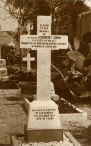 Herbert Dunn's gravestone at Alexandria (Chatby) Military and War Memorial Cemetery Copyright University of Glasgow