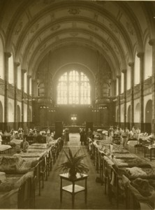 The Great Hall of Birmingham University in use as a ward during the First World War.