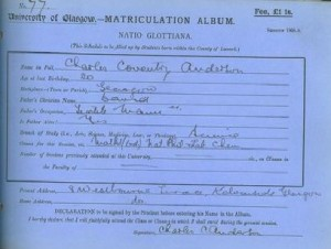 Matriculation slip 1908-09 - by courtesy University of Glasgow
