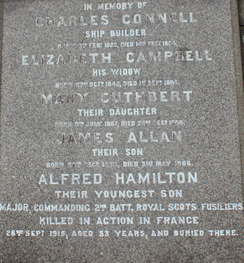 Alfred Hamilton Connell - Inscription