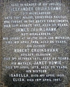 Cruikshank Memorial Inscription 1