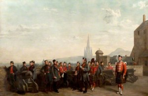 Group of the 79th Highlanders beside the Mill Mount Battery, Edinburgh Castle, 1852  by Robert Ranald McIan –  shown here by courtesy of the Trustees of The Highlanders' Museum (Queen's Own Highlanders Collection)., Fort George, Inverness-shire