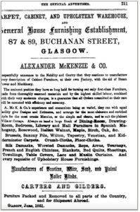 Alexander Mackenzie Advert - Courtesy of the Mackintosh Architecture Project