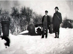 Two engines being stuck in the snow at Glen Douglas (1895)