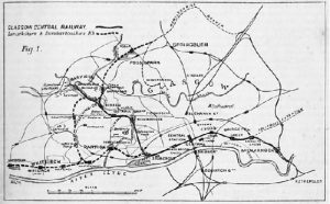 Map showing the routes of the Glasgow Central Railway and the Lanarkshire & Dumbartonshire Railway on both of which Charles worked