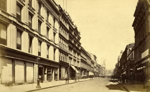 The bottom of Buchanan Street looking north c1880. Stewart and MacDonald's warehouse is nearest the camera on the left followed by that of David Kemp & Son.