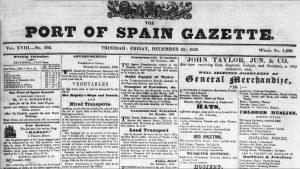 Advert for John Taylor, jun & Co in the Port of Spain Gazette December 1843